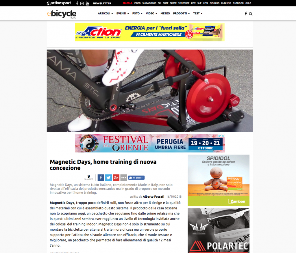 4Bicycle | 4actionsport | MagneticDays press | Alberto Fossati | MagneticDays home training di nuova concezione