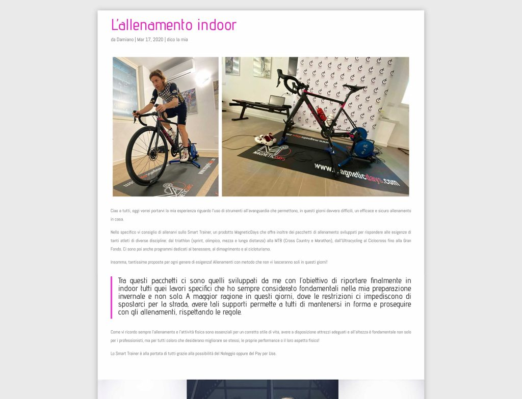 Damiano Cunego | blog Damiano Cunego | allenamento indoor | MagneticDays